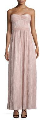 Laundry by Shelli Segal Metallic Pleated Halter Gown $295 thestylecure.com