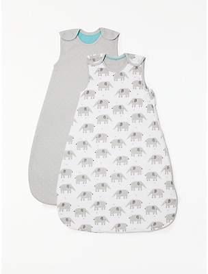 John Lewis & Partners Baby Elephant Print Sleep Bag, Pack of 2, 2.5 Tog, Grey