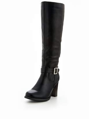 Very Prosper Cleated Sole Buckle Detail Knee High Boot Black