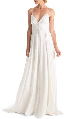 Joanna August Nancy Slit Front Button-Up V-Neck Wedding Dress
