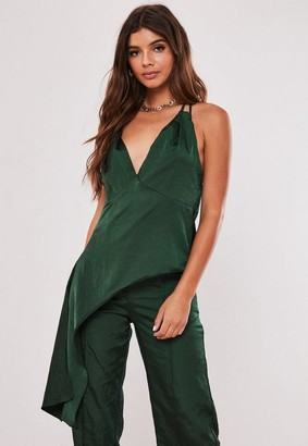 Missguided Green Co Ord Satin Plunge Tie Side Top