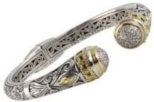 Konstantino Asteri White Diamond, 18K Yellow Gold and Sterling Silver Cuff Bracelet