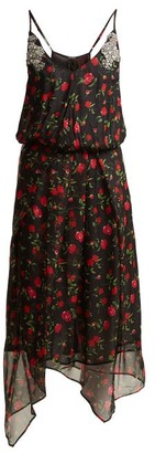 Dodo Bar Or Valentina Embellished Floral Print Chiffon Dress - Womens - Black Multi