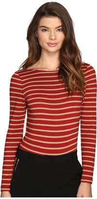 LAVEER Striped Long Sleeve Scoop Bodysuit Women's Jumpsuit & Rompers One Piece