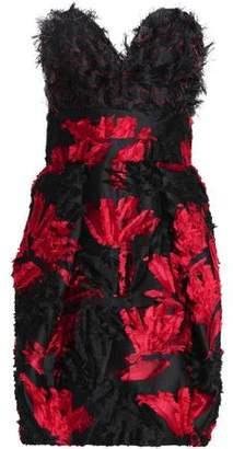 Milly Strapless Faux Feather-Embellished Fil Coupé Jacquard Mini Dress