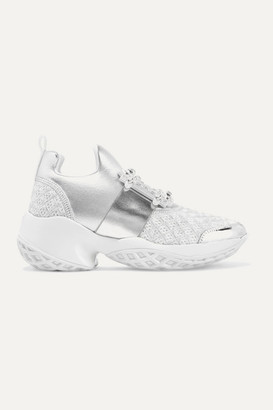 Roger Vivier Viv Run Crystal-embellished Metallic Neoprene, Leather And Mesh Slip-on Sneakers - Silver