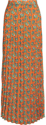 Pleated Floral-print Crepe Maxi Skirt - Orange