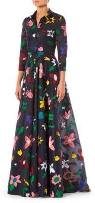 Carolina Herrera Embroidered Floral Trench Gown
