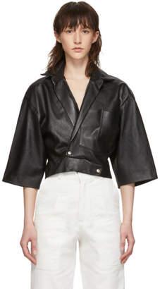 Markoo Black Cropped Snap-Front Shirt