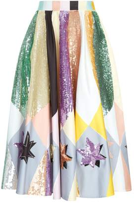 Emilio Pucci Sequinned Abstract Star Midi Skirt