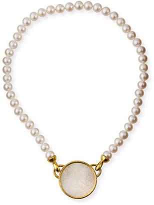 Elizabeth Locke 19k Chinese Gambling Counter Pearl Necklace