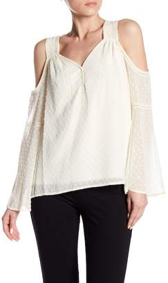 Kensie Swiss Dots Cold Shoulder Blouse