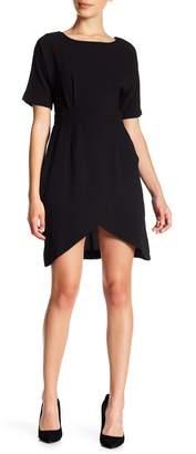 Bobeau Crepe Wrap Skirt Dress (Petite)
