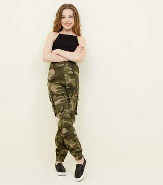 New Look Girls Green Camo Cargo Trousers