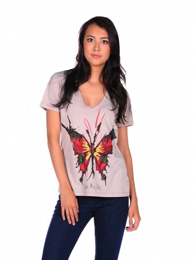 Love This Life Her Butterfly V-Neck Tee