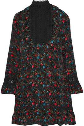 Anna Sui Guipure Lace-Paneled Floral-Print Silk-Blend Dress