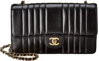 Chanel Black Quilted Lambskin Leather Medium Vertical Single Flap Bag