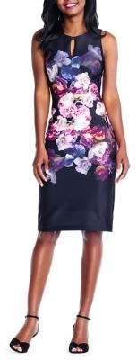 Adrianna Papell Tumbling Rose Keyhole Sheath Dress