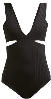 Araks Ursa Cut Out Ribbed Swimsuit - Womens - Black