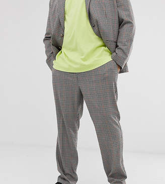 Collusion COLLUSION Plus suit pant in brown check