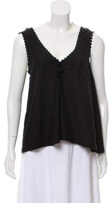 Anna Sui Sleeveless Embroidered Top