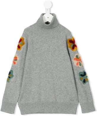 Chloé Kids flower patch roll neck sweater