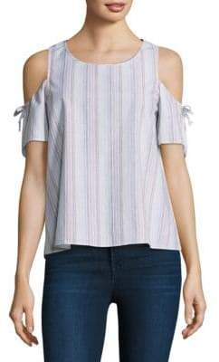 Cooper & Ella Striped Cold Shoulder Top