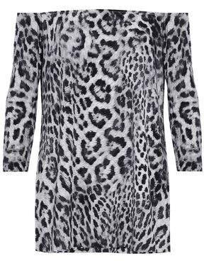 Norma Kamali Off-The-Shoulder Leopard-Print Jersey Top