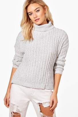 boohoo Hannah Roll Neck Loose Fit Ribbed Jumper