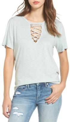 Women's Socialite Grommet Lace-Up Tee $32 thestylecure.com