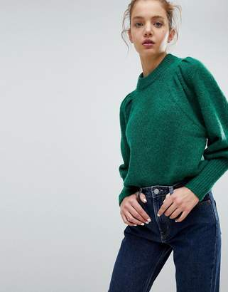 Weekday Mohair Crop Knit Sweater With Shoulder Detail