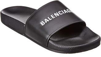 Balenciaga Logo Leather Slide