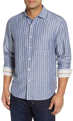 Tommy Bahama Plaid Sand Linen Blend Sport Shirt