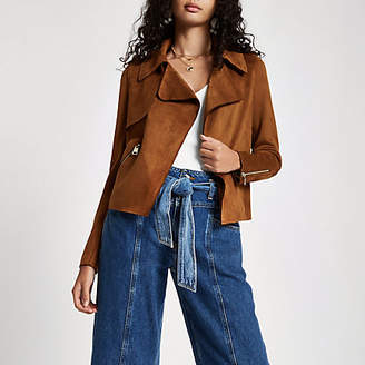River Island Brown faux suede cropped trench jacket