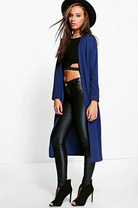 boohoo Charlotte Collarless Duster $38 thestylecure.com