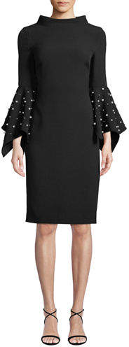 Badgley Mischka Collection Pearly Bell-Sleeve Sheath Dress