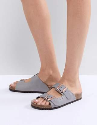 Office Superstar Gray Studded Slider Sandals