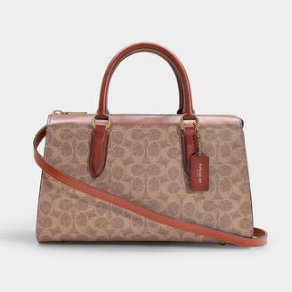 Coach Coated Canvas Signature Bond Satchel In Brown Canvas