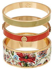 C. Wonder Set of 3 Floral Print & SolidEnamel Bangles