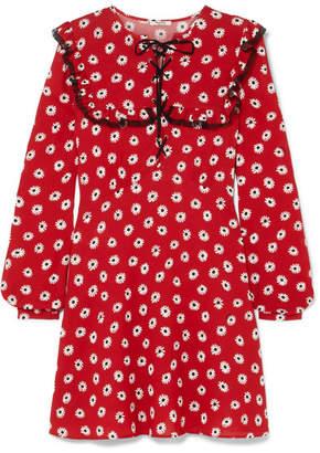 Miu Miu - Floral-print Stretch-crepe De Chine Mini Dress - Red