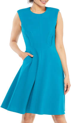 Maggy London Sleeveless Fit-and-Flare Stretch-Cady Dress w/ Pockets