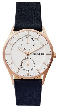 Skagen 'Holst' Multifunction Leather Strap Watch, 40Mm $165 thestylecure.com