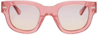 Acne Studios Pink Glitter Frame Acetate Sunglasses