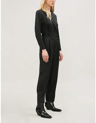 Sandro Brave belted tapered-leg twill jumpsuit