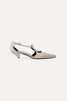 The Row Bourgoise Salome Cutout Silk-faille Pumps - Beige