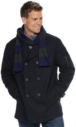 Izod Men's Wool-Blend Peacoat and Scarf Set