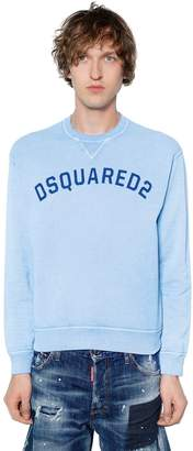 DSQUARED2 Logo Printed Cotton Jersey Sweatshirt