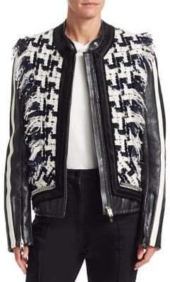 Alexander Wang Oversized Tweed& Leather Hybrid Jacket