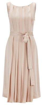 BOSS Sleeveless dress in Italian fabric with pleated front