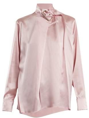 Marques Almeida Marques'almeida - Buckle Collar Silk Satin Top - Womens - Light Pink